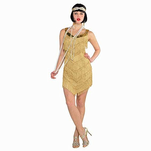 Womens Standard Size Roaring 20's Champagne Flapper Dress Costume by Amscan (Party City Flapper Dress)