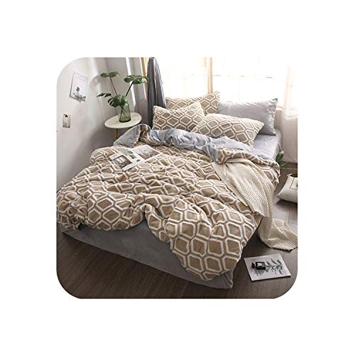 2019 New Shu Velveteen Bedding Set Queen Super King Bed Linen Set 3D Winter Warm Home 4pcs Duvet Cover Flannel Fleece Bedclothes,Camel Bedding,Queen,Flat Bed Sheet
