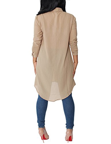 ISASSY - Camisas - Clásico - Manga Larga - para mujer albaricoque