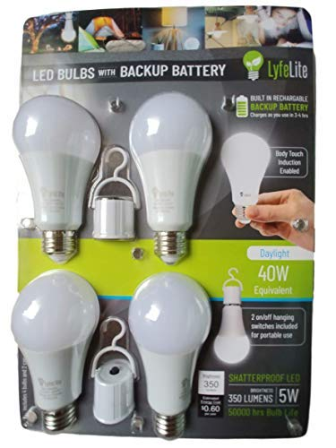 lyfeLite Rechargeable Emergency LED Light bulb 4-5 hour Emergency Lighting 5 watt (40 watt equivalent) 450 lumens Daylight Non dimmable E26 4 pack (Difference Between Soft White And Daylight Bulbs)