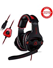 ⭐️ KLIM Mantis - Gaming Headset with Mic - for PC, PS4, Nintendo Switch, Mac, Mobile - USB 7.1 - over Ear High Quality Headphones [ New 2019 Version ] Noise Cancelling Headphone and Microphone