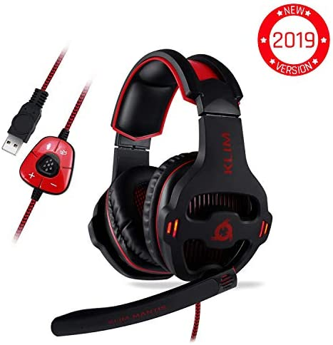 KLIM Mantis – Gaming Headphones – USB Headset with Microphone – for PC, PS4, Nintendo Switch, Mac, 7.1 Surround Sound – New 2019 Version – Noise Cancelling Gaming Headset