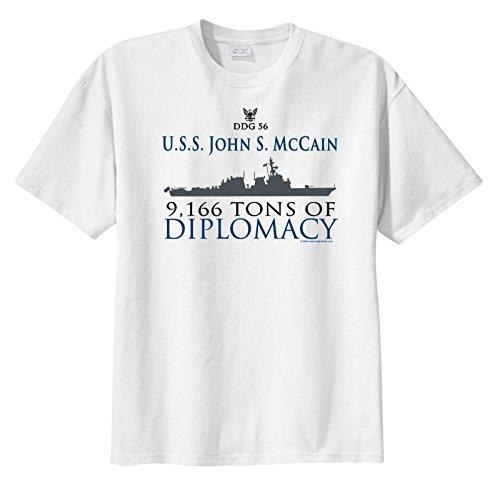 ShipShirtsTM Big Boy's DDG 56 USS John S. McCain 9,166 tons of Diplomacy Short Sleeve T-Shirt White L