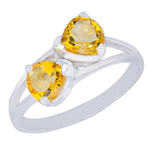 - Gorgeous Genuine Bow Natural Citrine Gemstone Sterling Silver Trilliant Shapes Jewelry Womens Ring  7