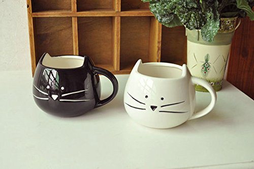 Happy Valentine's Day, Lovely Couple Matching Black & White Kitten Water Coffee Juice Milk Mug Drink Cups