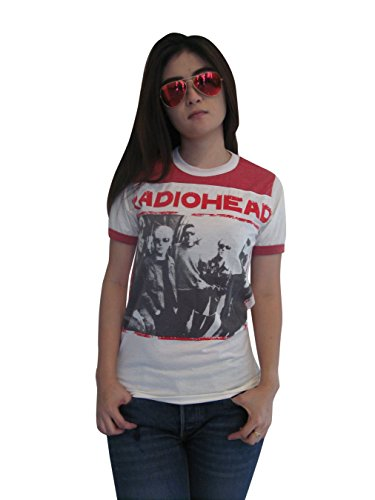 Bunny Brand Women's Thom Yorke Radiohead Ringer T-Shirt Jersey White Red New (Small) by BUNNY BRAND