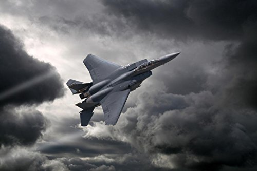 F15 Eagle Tactical Fighter Aircraft Flying Through Storm Photo Art Print Poster 36x24 inch