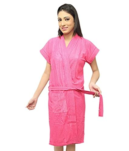 d44d40a8eb Buy FILMAX® ORIGINALS BATHROBE GOWN 100% COTTON IN TERRY TOWEL UNISEX BATH  ROBE (FREE SIZE - PINK) Online at Low Prices in India - Amazon.in
