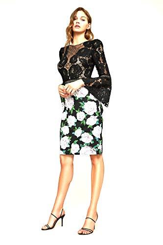 - Tadashi Shoji Women's Gower Floral Neoprene Dress, Black and White, Size 16