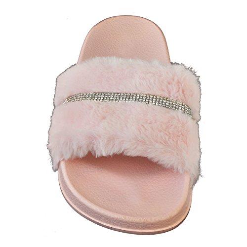 Fashion Thirsty heelberry Mujer Diamante de Imitación Plano Piel Sintética Deslizador Sildes Sandalias Cómodo Zuecos Verano Talla rosa pastel Piel Sintética