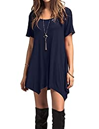 Adreamly Women's Swing T-Shirt Short Sleeve Tunic Top Flare Shirt
