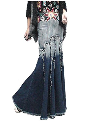 Full Jeans Circle (Sheng XiWomen Full Circle Party Denim Bodycon Mermaid Long Maxi Skirt Denim Blue S)