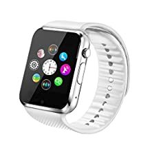 Fantime Smart Watch Bluetooth Wrist Watches Phone Mate SIM TF Camera Pedometer for Android and iPhone( White )
