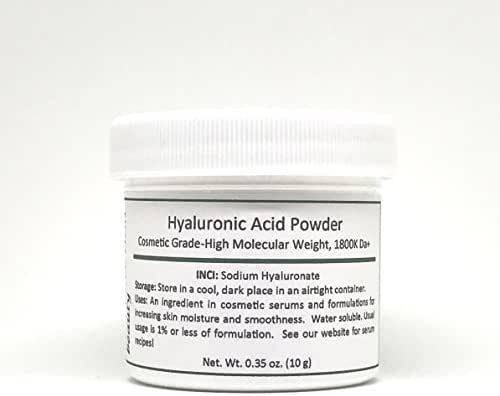 Pure Hyaluronic Acid Serum Powder (High Molecular Weight Sodium Hyaluronate). Cosmetic Grade, Popular Hydrating Ingredient For Homemade Serums & Other Skin Care Products. 10 grams