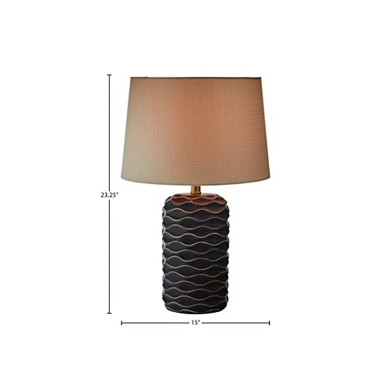 "Rivet Mid Century Modern Ceramic Gold Wave Living Room Table Lamp With LED Light Bulb and Shade - 23.25 Inches, Black - The grey-on-black design comes together to form waves on the ceramic base of this modern, textured lamp. These artsy touches are topped off by an off-white fabric shade for a look that will blend with any décor -- classic, modern or transitional. 15"" Diameter x 23.25""H Ceramic base, metal socket and fabric shade - lamps, bedroom-decor, bedroom - 41Nh5 U8cKL. SS570  -"