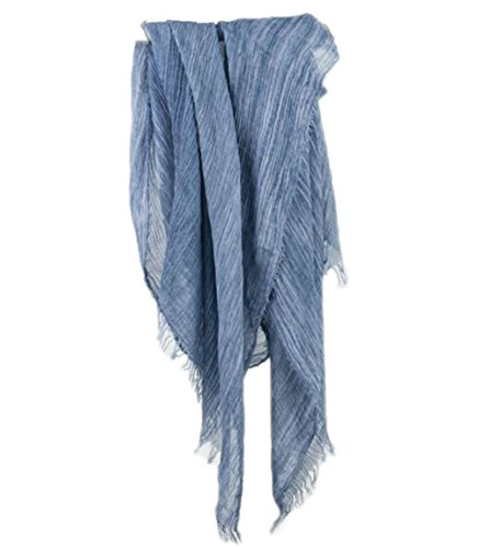 Women Men Cotton Linen Soft Light Evening Scarf Shawl Wrap Casual (Jean blue)