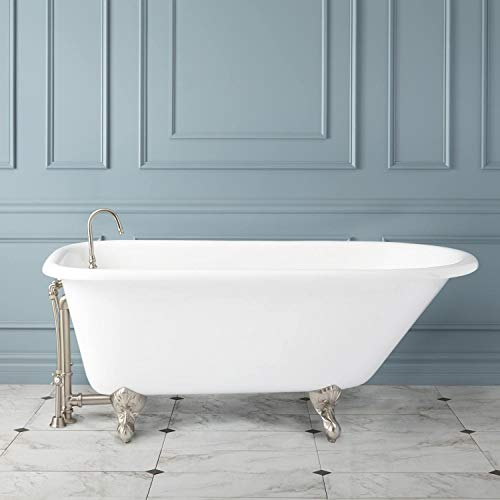 """Signature Hardware 307193 Miya 54"""" Cast Iron Roll Top Clawfoot Tub with Imperial Feet and 3-3/8"""" Tub Wall Holes"""