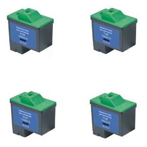 Amsahr 10N0016 Lexmark 10N0016, Z13, Z23 Remanufactured Replacement Ink Cartridges, 4-Pack, Black