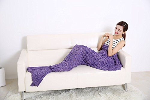 Mermaid Tail Blanket for Adults / Teens by AIQI - Feet Go in Fins - All Season Knitted Soft Cozy Sofa Bed Sleeping Bag, Ideal for a Gift (70.8 * 34.5 inch) (Purple) from AIQI