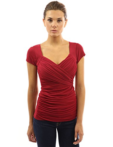 (PattyBoutik Women's Cross Front V Neck Ruched Mesh Blouse (Red L))