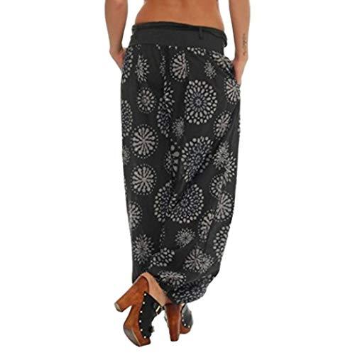 Fascia Larghi Floreale Taglie 5xl Forti Pantalone Donna Casual Vintage Dragon868 Nero U7qa4Zw