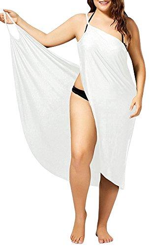 Womens Cover Ups Beach Spaghetti Strap Sarongs Beach Backless Wraps White 5XL