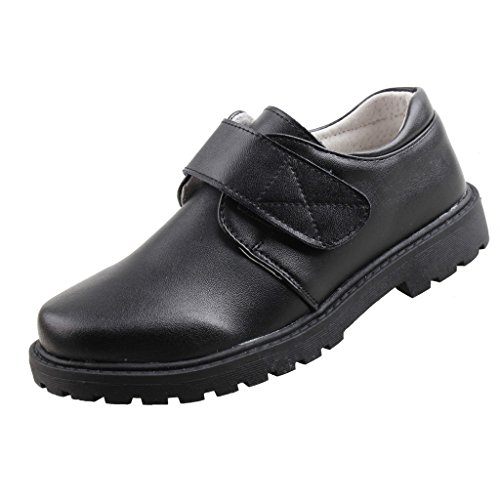 QHamThim Boys Leather Oxford Black School Uniform Outdoor Dress Shoe(Toddler/Little Kid/Big Kid) US Size 4 Black