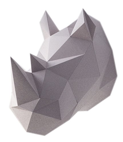 """Geometric DIY Paper Assembly Kit Grey Rhino 3D Wall Trophy, Decorative Art Display for Children and Adults - 15"""" x 10"""" x 15"""""""