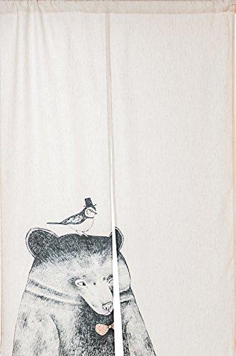 Cheap KARUILU home Japanese Noren Doorway Curtain / Tapestry with Bear and Bird 33.5″ Width x 47.2″ Long
