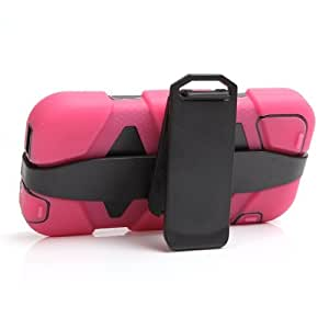 Shockproof Silicone + Plastic Combination Case with 180 Degree Rotatable Belt Clip Holder for iPhone 5 & 5S (Magenta)