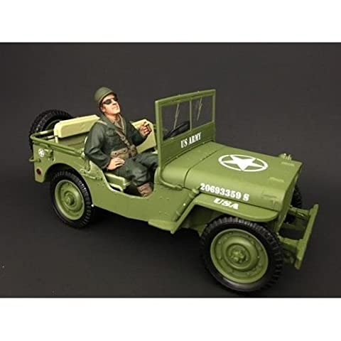 New 1:18 AMERICAN DIORAMA COLLECTION - Green Military Police Vehicle With 4 USA Soldier Set Diecast Model Car By AMERICAN (Military Vehicles 1 18)
