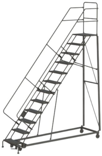 (Tri-Arc KDHS112246 12-Step Heavy-Duty Safety Angle Steel Rolling Industrial & Warehouse Ladder with Perforated Tread)