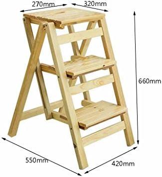 La escalera Taburete plegable de tres niveles con escalera de doble uso, escalera pequeña de madera para el hogar, escalera multifunción para estante de flores, escalera de contracción de madera maciz: Amazon.es: