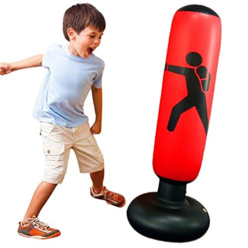 Vichona Inflatable Punching Bag with Stand for Kids,63″ Boxing Equipment Free Standing Boxing Bag, Boxing Punching Bags for Adults Teens