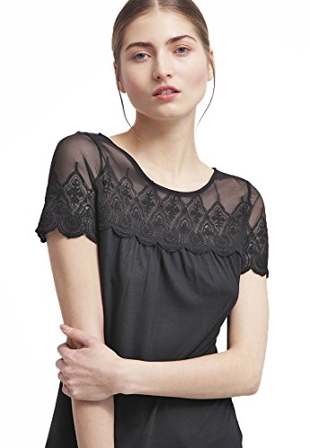 Field Short Sleeve Top (Anna Field Women's Embroidered Black Lace Round Neck Casual T-Shirt)