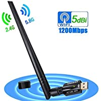 1200Mbps USB WiFi Adapter USB 3.0 Long Range WiFi Dongle Dual Band 5Ghz 867Mbps 2.4G 300Mbps Wireless Network Adapter WiFi Card for Laptop Computer of Windows 7/8/10 Mac OS X 10.9-10.12.4