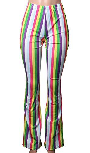 Patchwork Pantaloni Bianca Pants Donne Moda Righe Lunghi Vita Oufour A Alta Flare Strette UETawSq