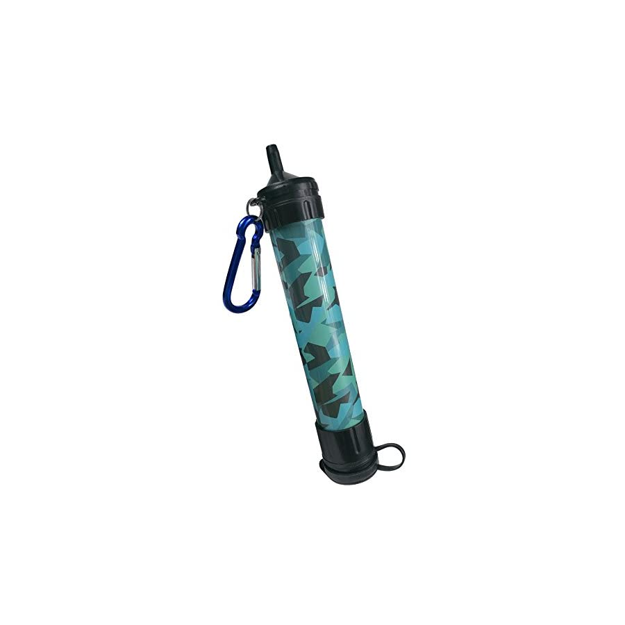 J.B.W Emergency Camping Water Filter Straw Portable Purifier Chemical Free, BPA Free & Lightweight. Filtration System removes 99.9% bacteria & filter to 0.01 Micron Camouflage Color