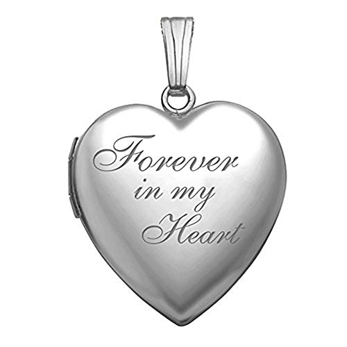 Photo Engraved Heart (PicturesOnGold.com Forever in My Heart Locket Necklace Pendant in Sterling Silver - 3/4 Inch X 3/4 Inch)