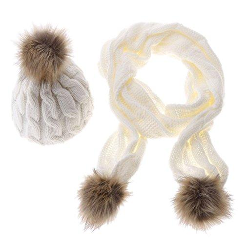 moda a Acvip bufanda y mujer de ni pomp con conjunto combinados gorro rqXREqB