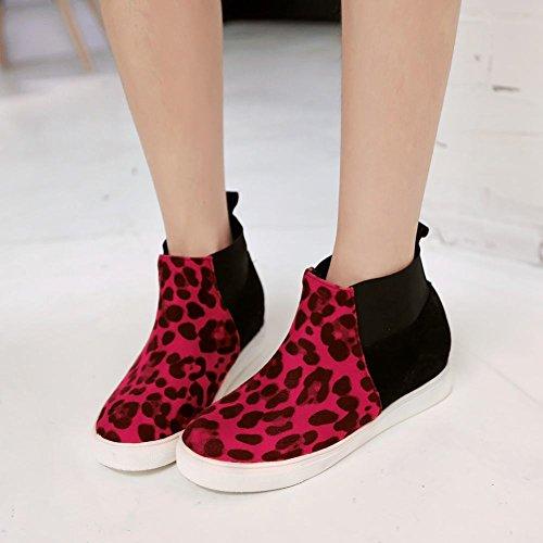 Latasa Mujeres Fashion Paneles Elásticos Animal Footprint Platform Tacón Medio Tobillo-alto Snug Chelsea Botas Rojo