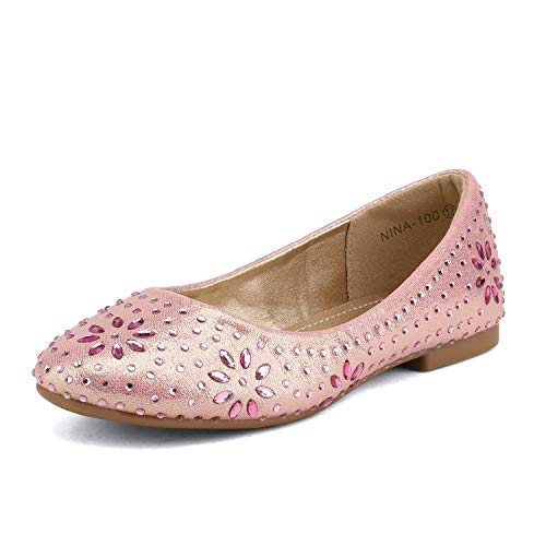 DREAM PAIRS Little Kid Nina-100 Pink Suede Girls Dress Shoes Classic Ballet Flats - 13 M US Little