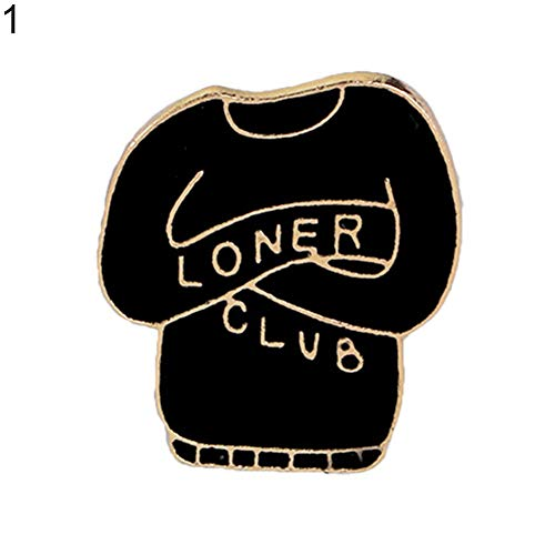 Mosichi Creative Coat Pullover Shape Loner Club Letter Badge Brooch Pin Evening Party Jewelry Scarf Accessory 1# -
