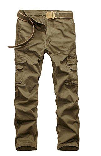Ceinture Style sans Combat Longues Vintage Kaki Cargo Militaire Pants Loisir Jambes multi Pantalons Travail Ghope Homme Poches Sv1Zvw