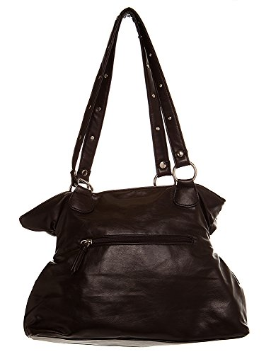 women Inspired Handbags All Chocolate For handbag by Medium Handbag Hobo Shoulder Crown Studded xIaFnq56