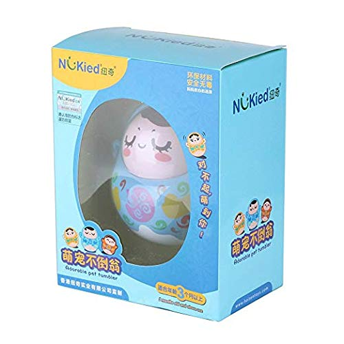 Anleo Chiming Roly Poly Toy Adorable Tumbler Doll Baby Toy with Shaking Nod Function and Sweet Tones for Toddlers and Kids Blue