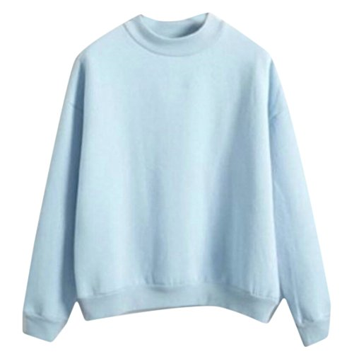 Crewneck Lightweight Sweatshirt (GAGA Womens Stylish Long Sleeve Blend Crewneck Sweatshirt Top Light Blue M)