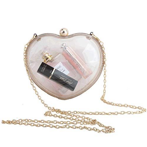 LETODE Women Heart-shaped Clutch Purse Transparent Acrylic Evening Bags Handbag For Bride Wedding Party Prom ()