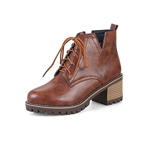 ABL10275 Retro Resistant Brown Urethane Boots Platform BalaMasa Womens Slip 5xqCt0q7w