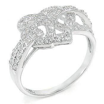 Womens 925 Sterling Silver Cubic Zirconia Pave Setting Heart Shape 12mm Ring 5